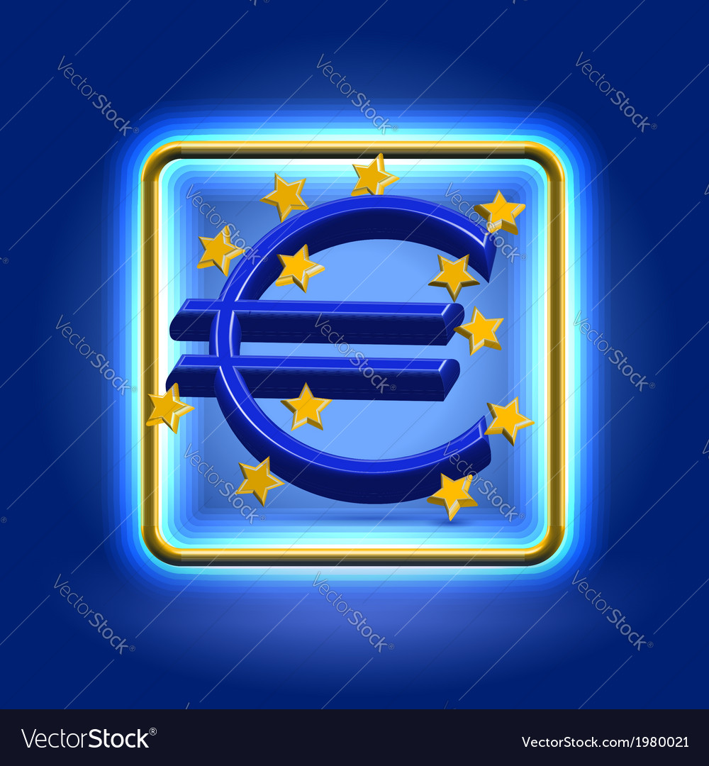 Euro currency sign neon icon vector | Price:  Credit (USD $)