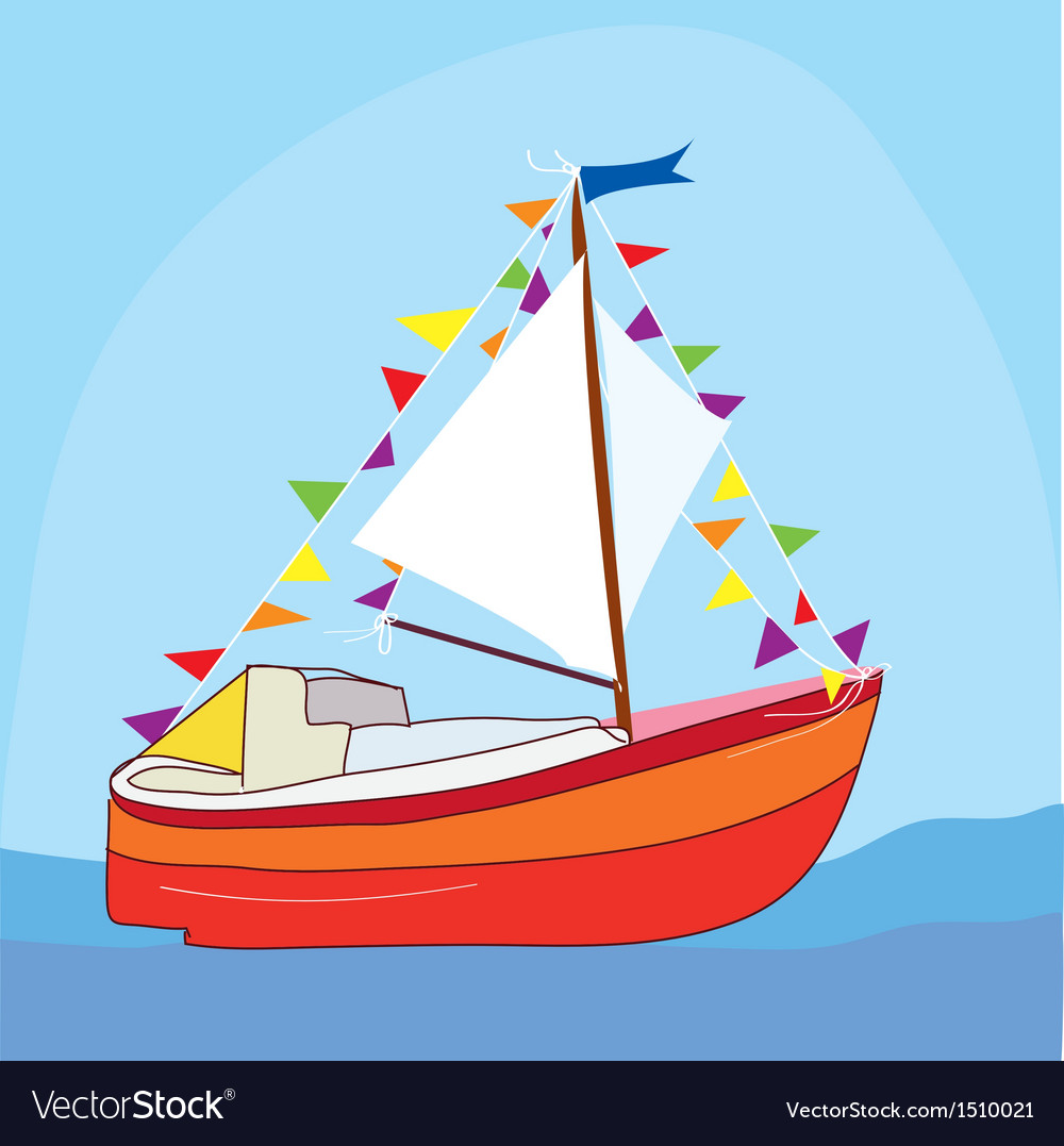 Funny yacht at the sea vector | Price: 1 Credit (USD $1)