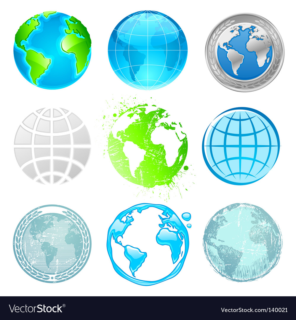 Globe and earth set vector | Price: 3 Credit (USD $3)