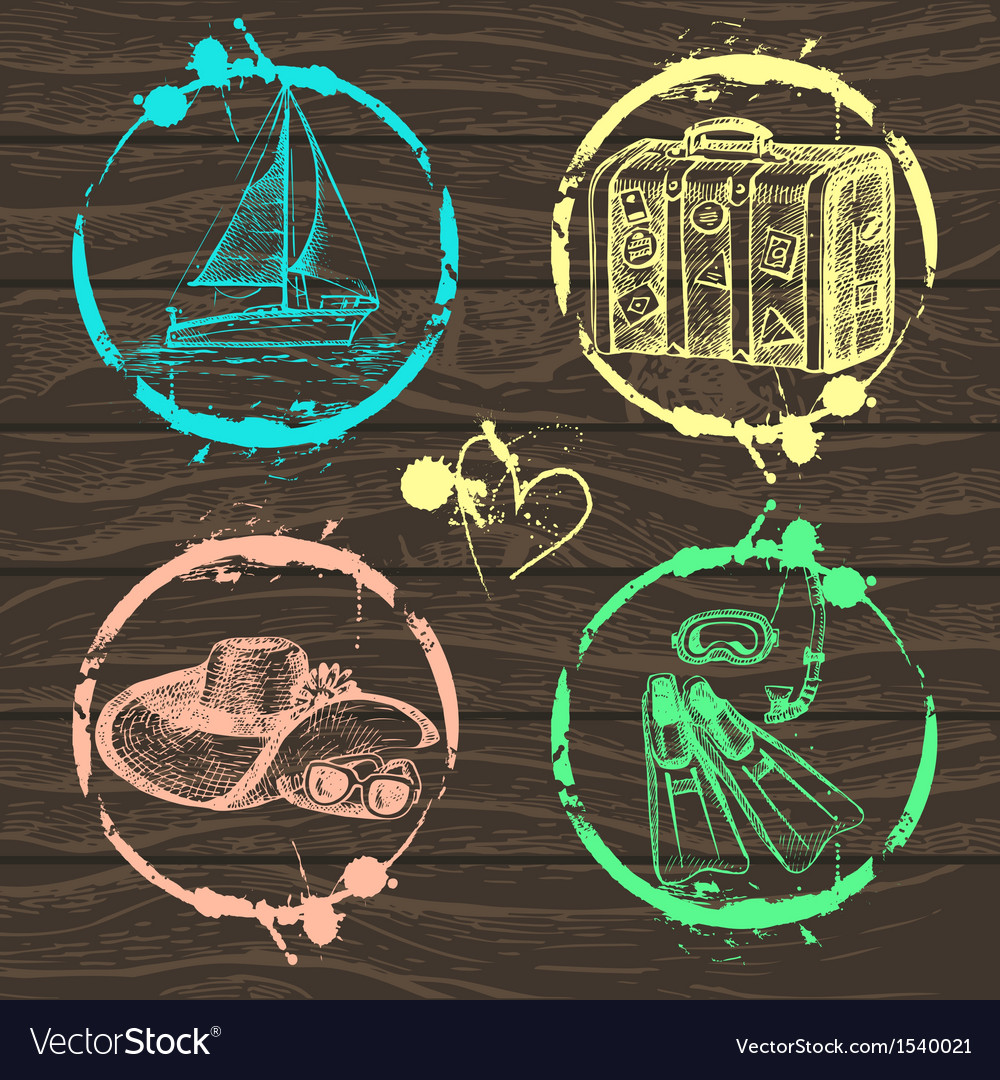 Hand drawn travel set vector | Price: 1 Credit (USD $1)
