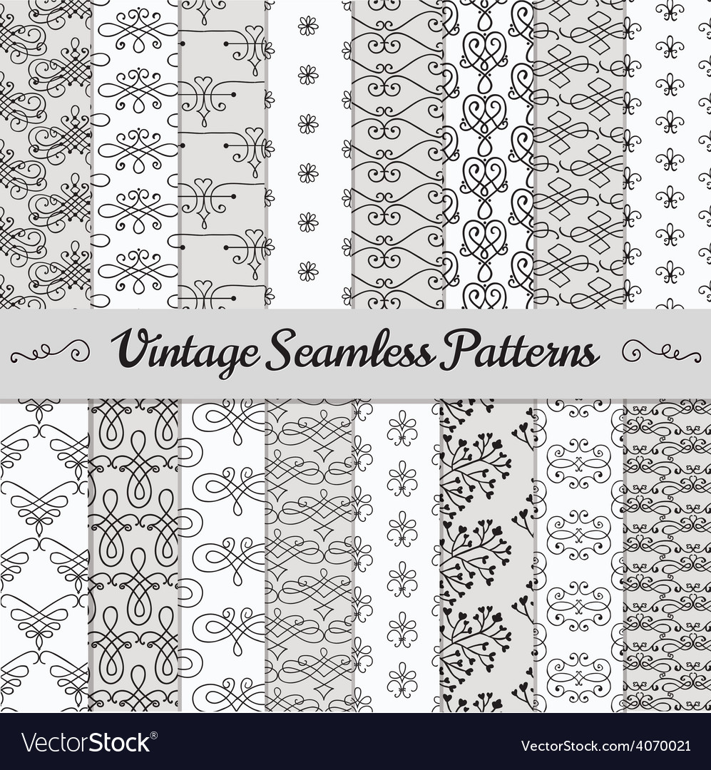 Hand drawn vintage seamless patterns vector | Price: 1 Credit (USD $1)