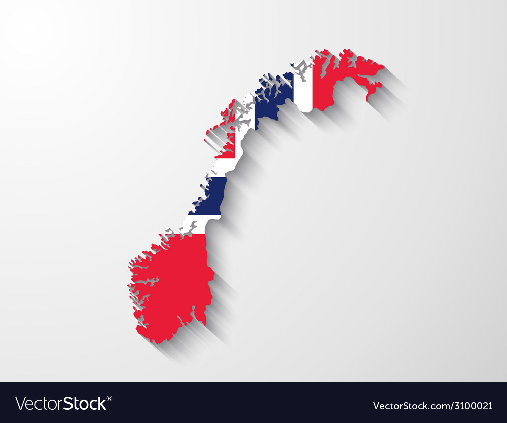 Norway map with shadow effect presentation vector | Price: 1 Credit (USD $1)