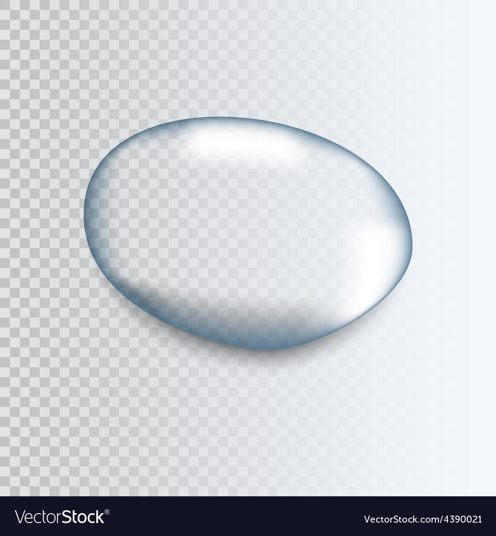 Realistic pure transparent water drop with shadow vector | Price: 1 Credit (USD $1)