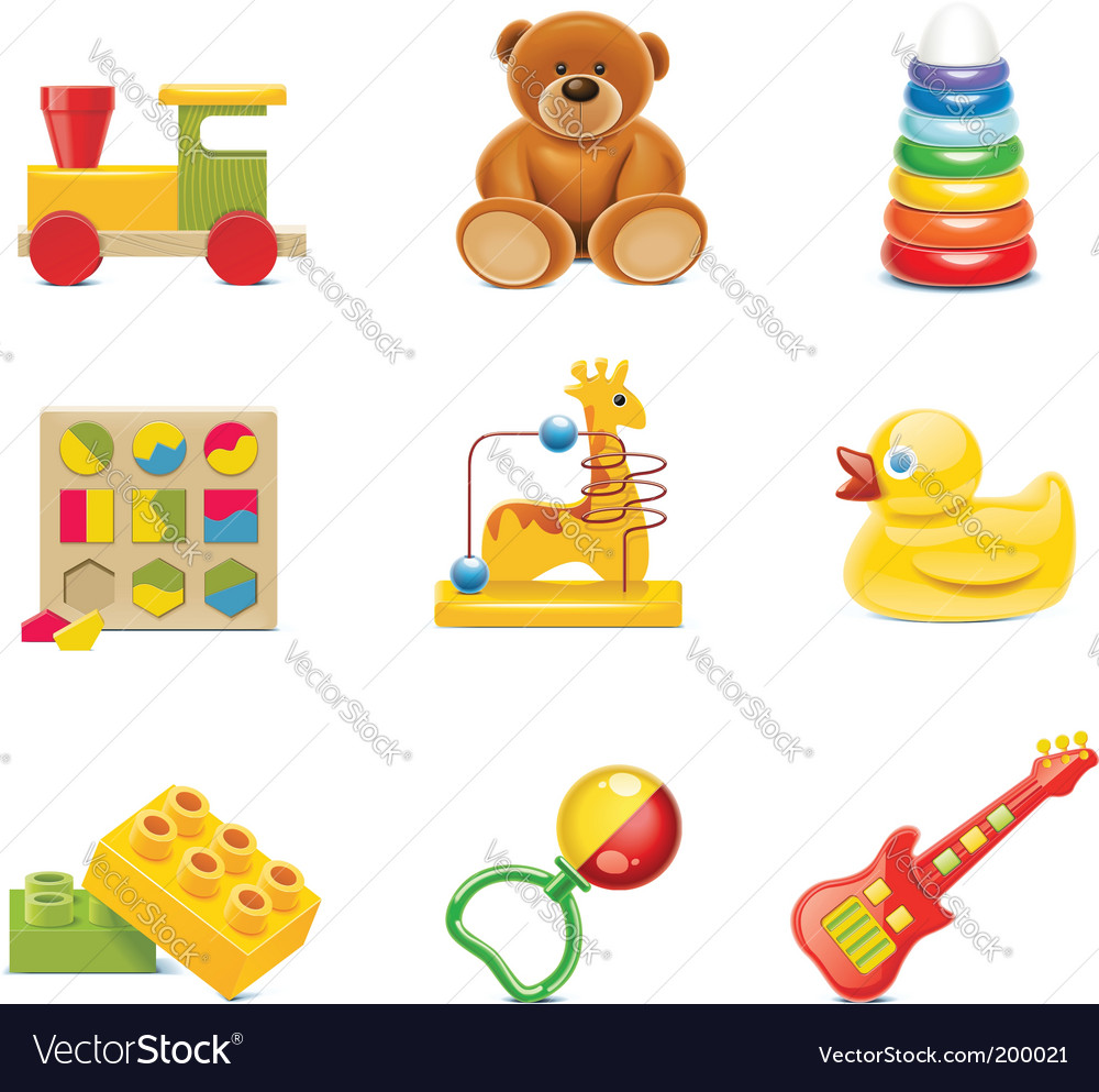 Toy icons baby toys vector | Price: 3 Credit (USD $3)