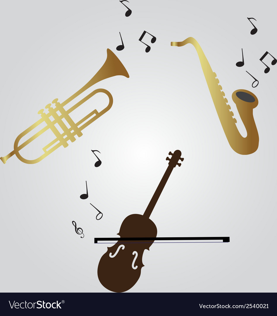 Violin trumpet and saxophone icons eps10 vector | Price: 1 Credit (USD $1)