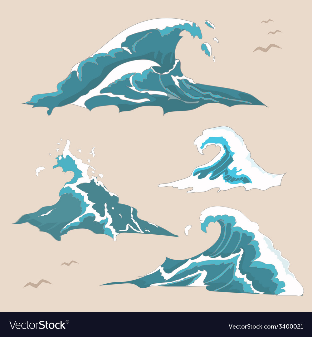 Wave ocean collection vector | Price: 1 Credit (USD $1)