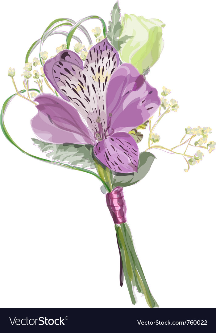 Boutonniere with alstroemeria and eustoma vector | Price: 1 Credit (USD $1)