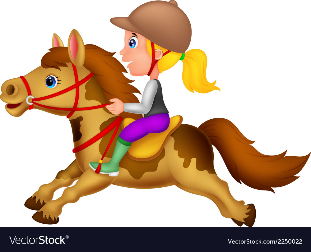 Cartoon little girl riding a pony horse vector | Price: 1 Credit (USD $1)