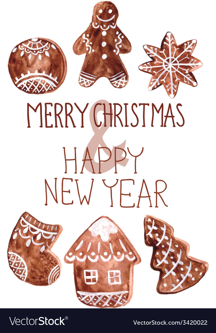 Gingerbread cookies and christmas decoration vector | Price: 1 Credit (USD $1)