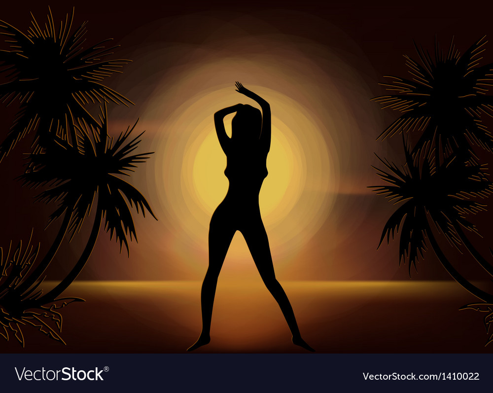 Girl silhouette on sunset beach background vector | Price: 1 Credit (USD $1)