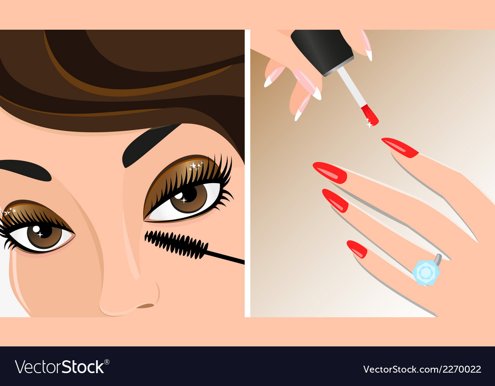 Make-up twice  mascara and nail polish vector | Price: 1 Credit (USD $1)