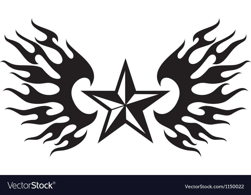 Star and flame wings vector | Price: 1 Credit (USD $1)