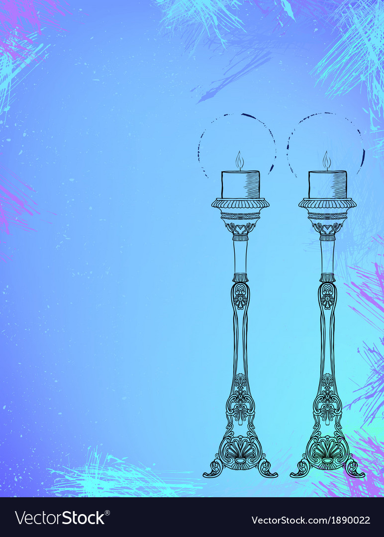 Two highly ornamental candles on watercolor vector | Price: 1 Credit (USD $1)