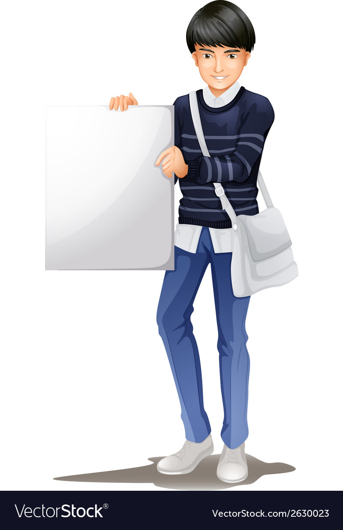 A man standing with an empty signboard vector   Price: 1 Credit (USD $1)