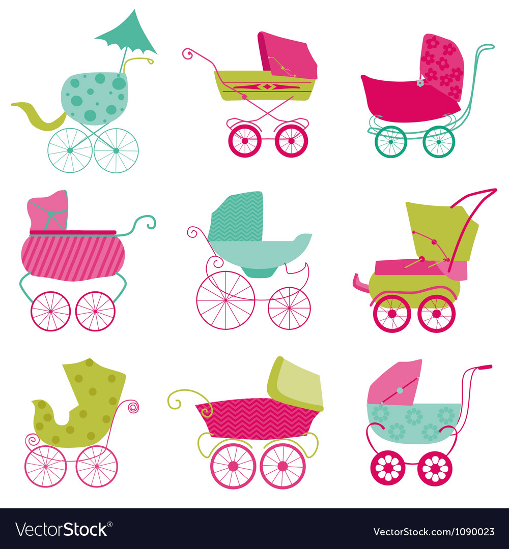 Baby carriage background vector | Price: 1 Credit (USD $1)