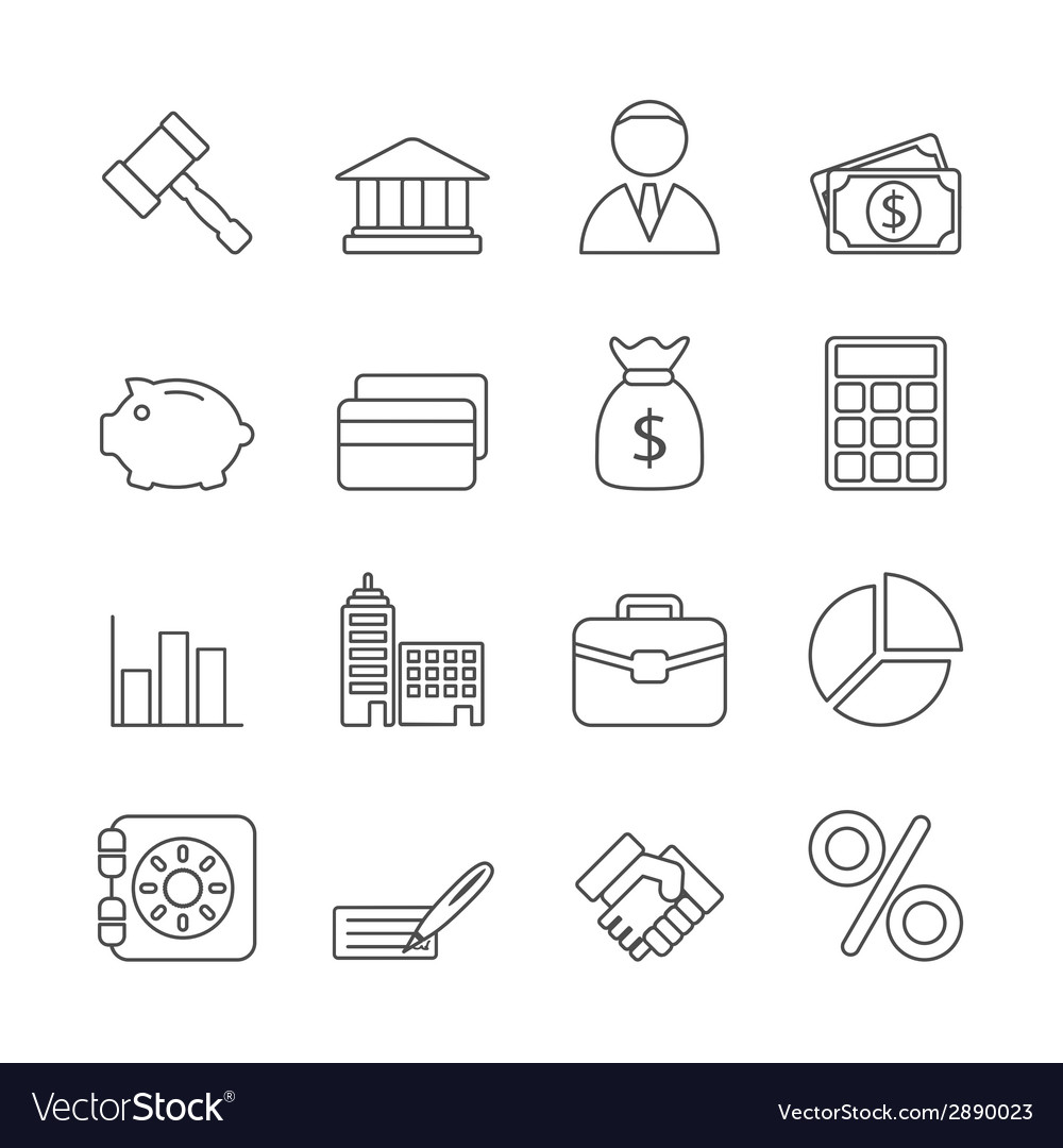 Business line icons set vector | Price: 1 Credit (USD $1)