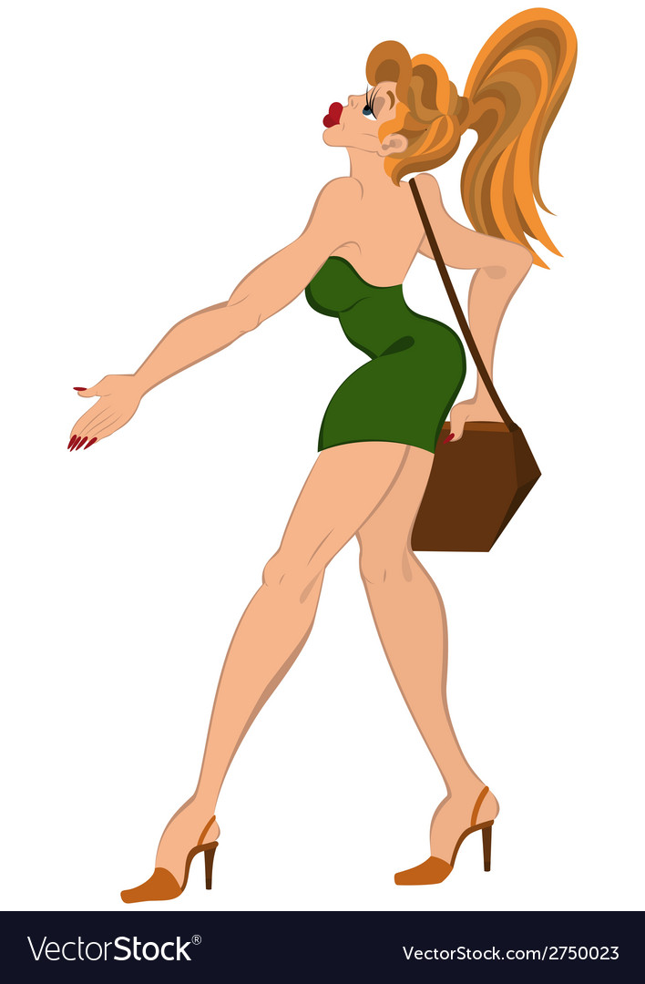 Cartoon girl in short dress walking with purse vector | Price: 1 Credit (USD $1)