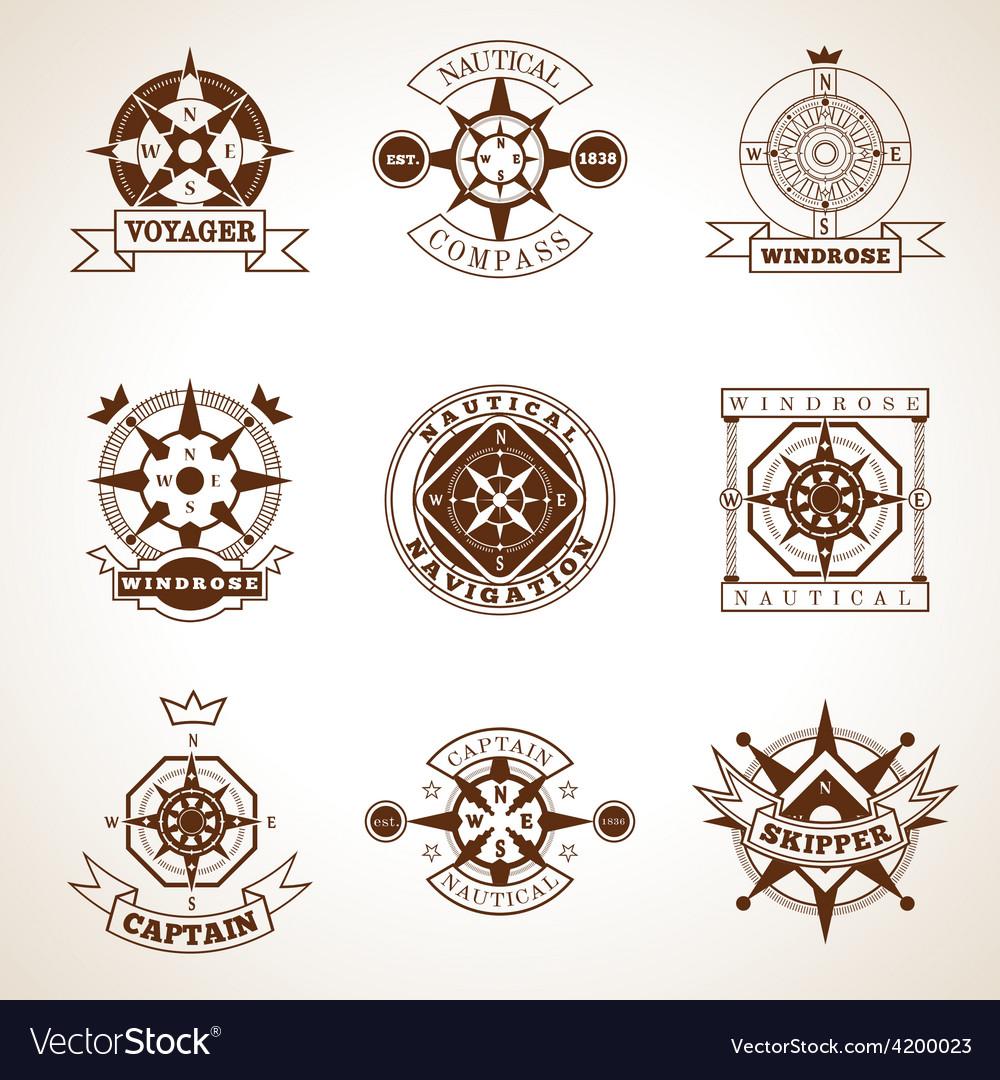 Compass label set vector | Price: 1 Credit (USD $1)