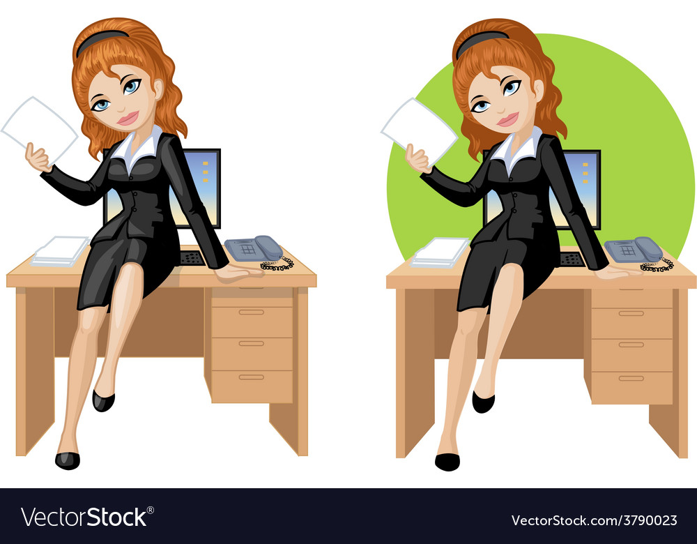 Cute young caucasian office woman sitting on table vector | Price: 3 Credit (USD $3)