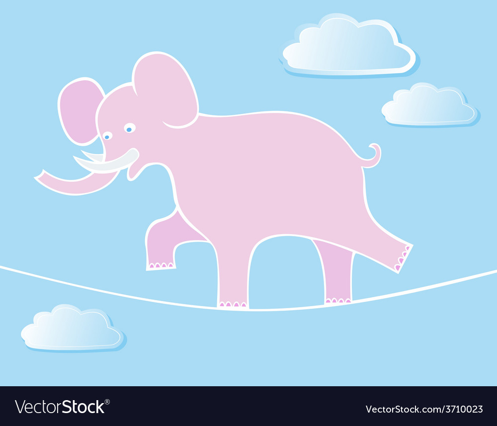 Elephant walks by tightrope vector | Price: 1 Credit (USD $1)