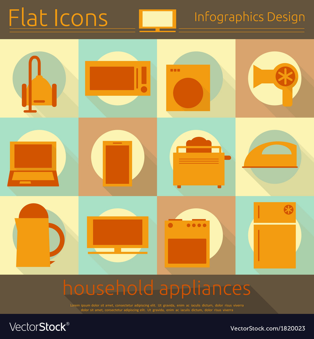Flat icons set - home appliances vector | Price: 1 Credit (USD $1)