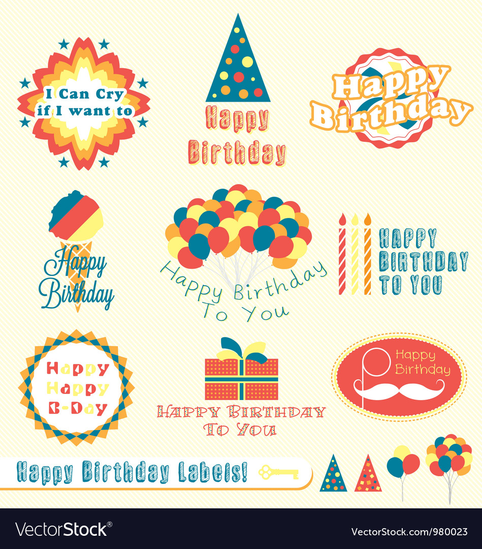 Happy birthday labels vector | Price: 1 Credit (USD $1)