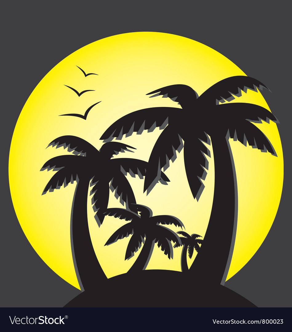 Palms and sunset vector | Price: 1 Credit (USD $1)