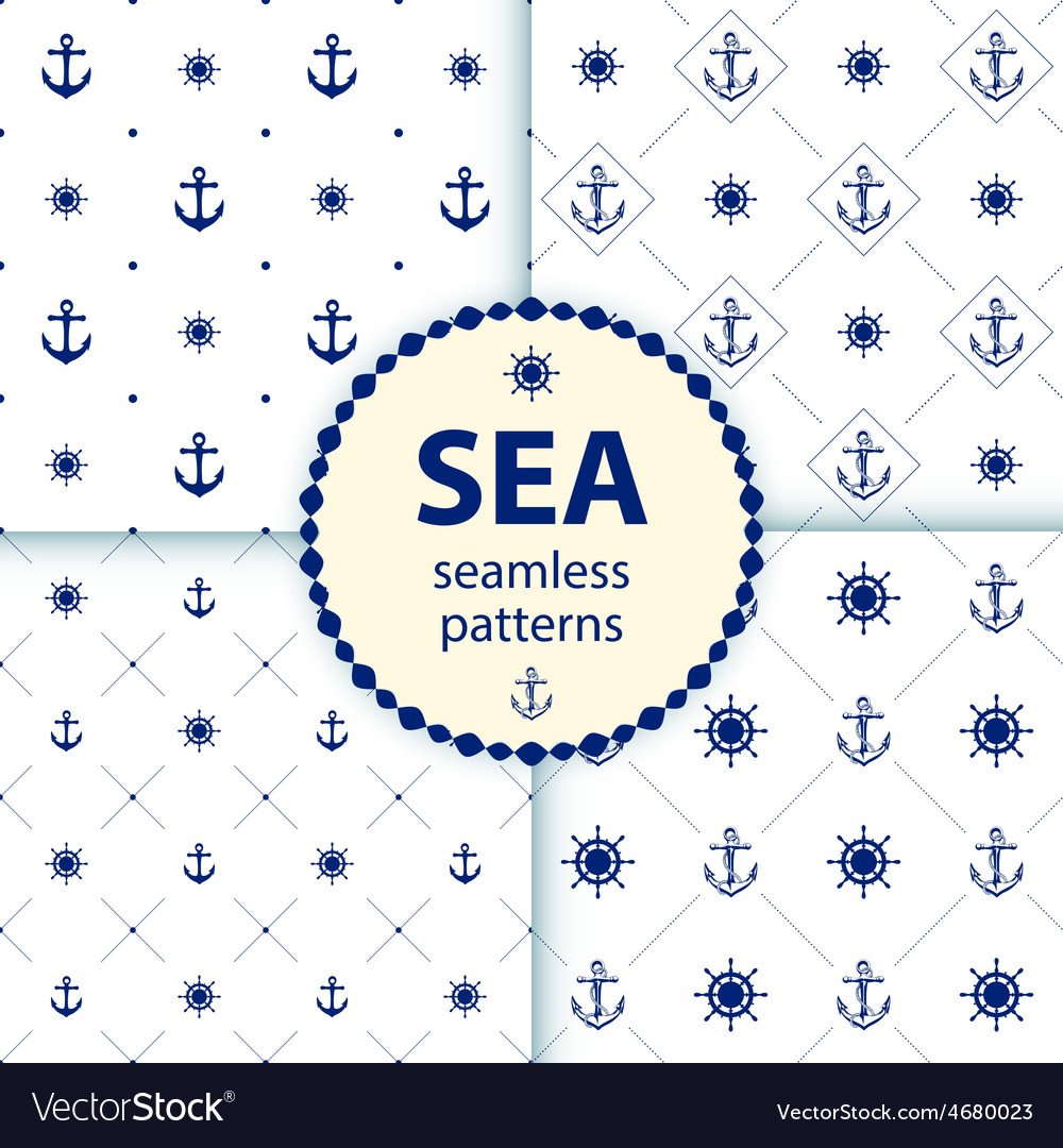 Seamless patterns aqua background set wallpaper vector | Price: 1 Credit (USD $1)