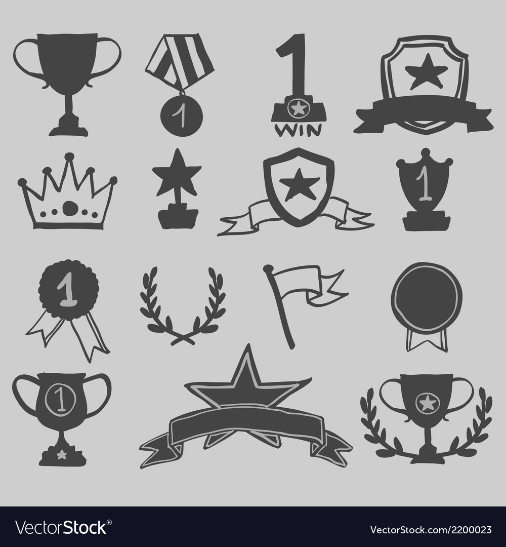 Trophy and awards icons hand draw vector | Price: 1 Credit (USD $1)