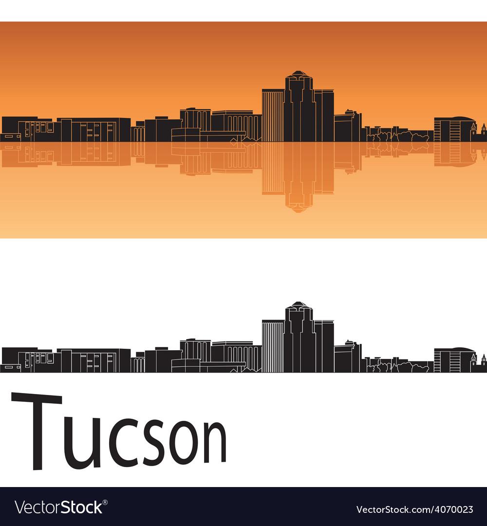 Tucson skyline in orange background vector   Price: 1 Credit (USD $1)