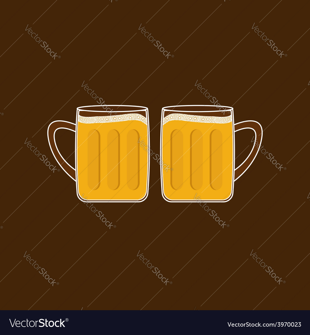 Two beer glasses mug with foam cap froth bubble vector | Price: 1 Credit (USD $1)