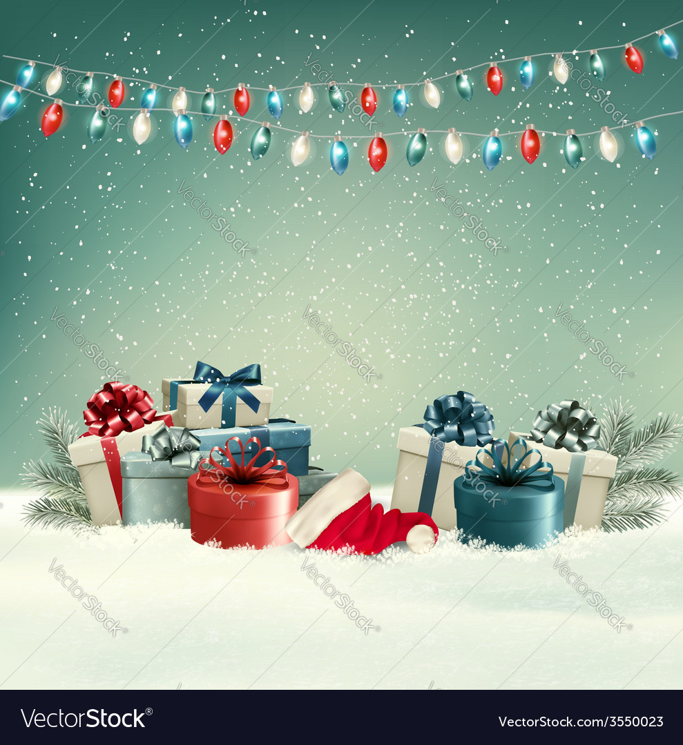Winter christmas background with gifts and a vector | Price: 3 Credit (USD $3)