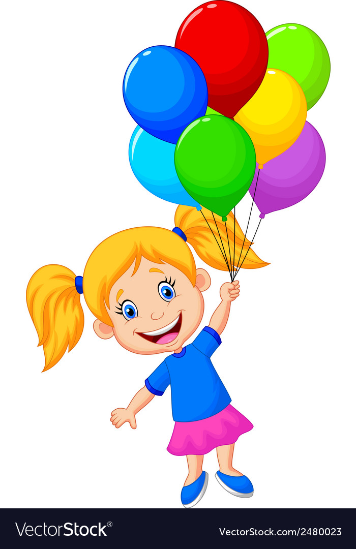 Young girl cartoon flying with balloon vector | Price: 1 Credit (USD $1)