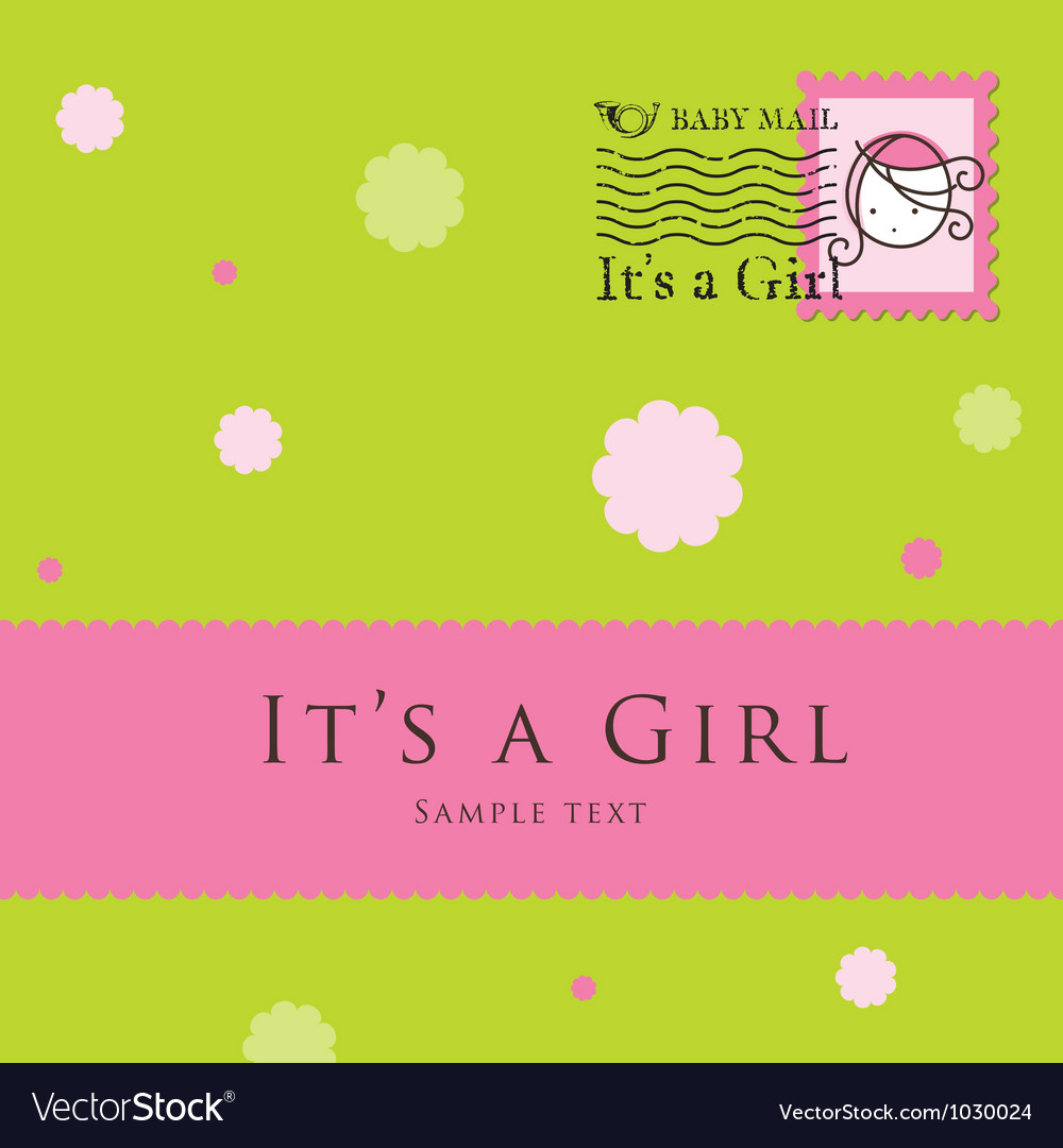 Baby girl arrival card vector | Price: 1 Credit (USD $1)
