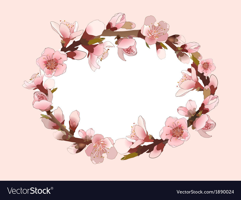 Background with blossoming pink flowers vector | Price: 1 Credit (USD $1)