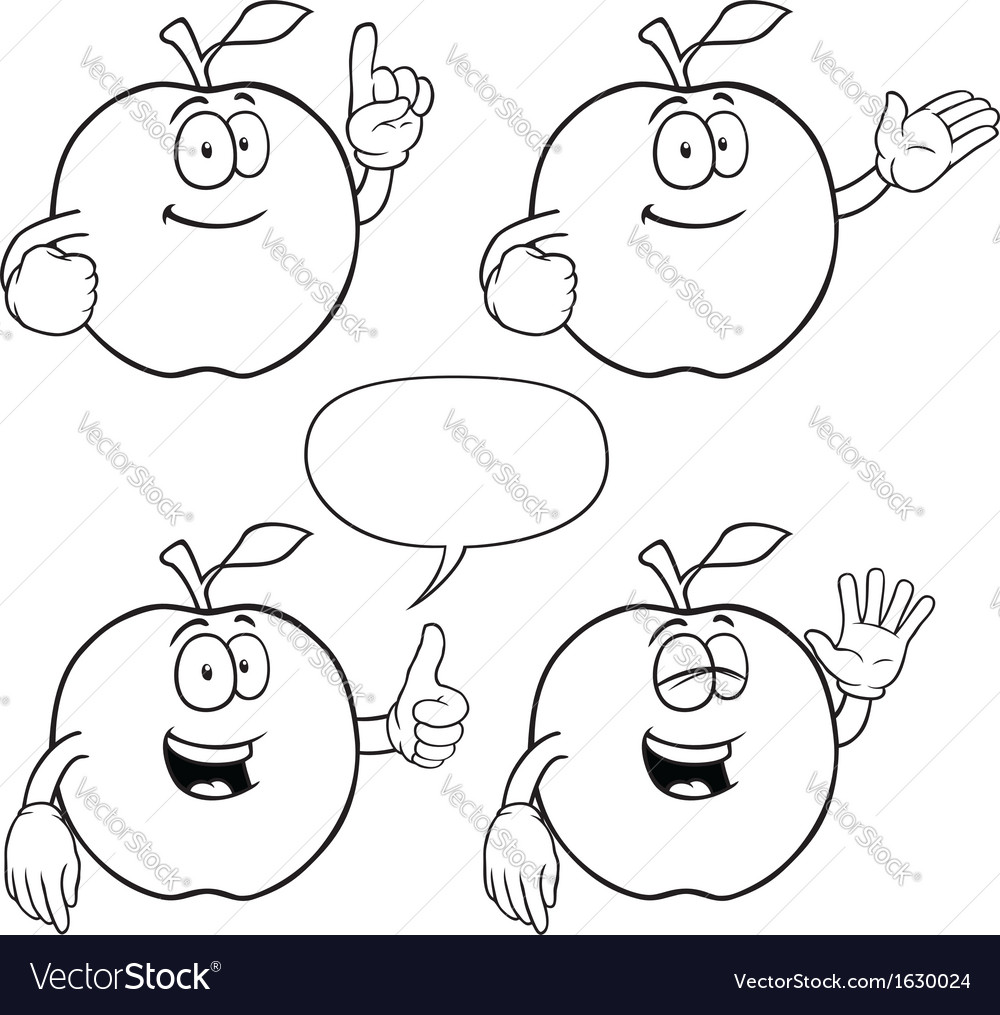 Black and white smiling apple set vector   Price: 1 Credit (USD $1)