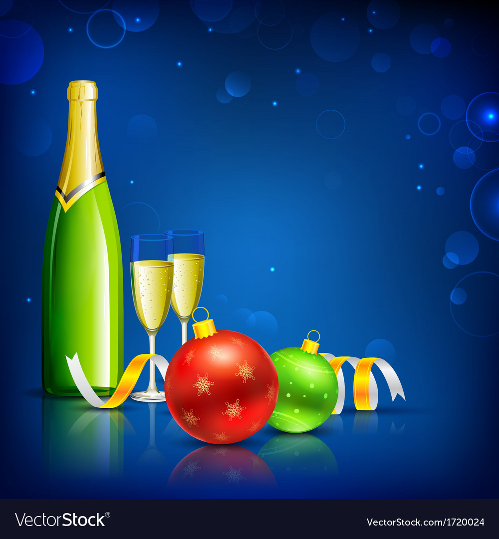 Champagne glass for christmas celebration vector | Price: 1 Credit (USD $1)