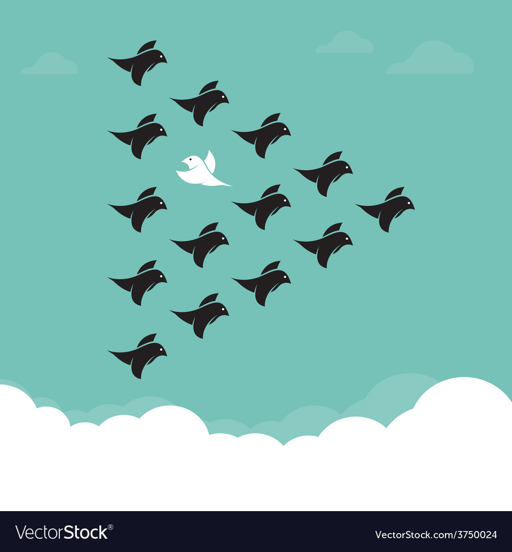Flock of birds flying in the sky vector | Price: 1 Credit (USD $1)