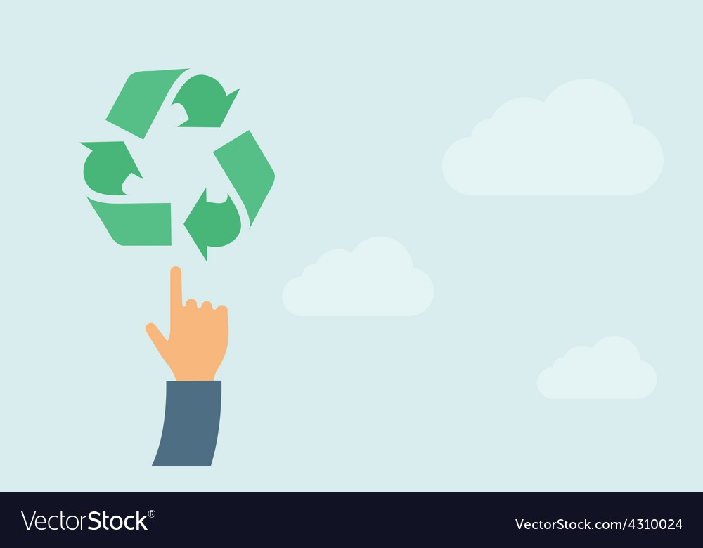 Hand pointing to recycling icon vector | Price: 1 Credit (USD $1)