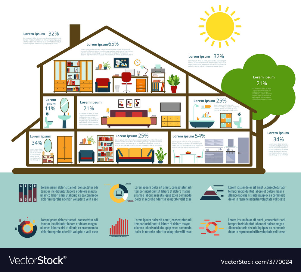 House infographics in flat style vector