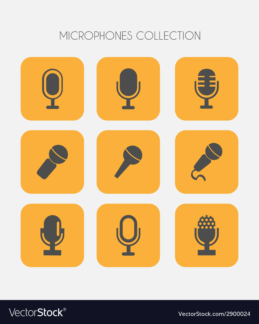 Microphone icons flat style vector | Price: 1 Credit (USD $1)
