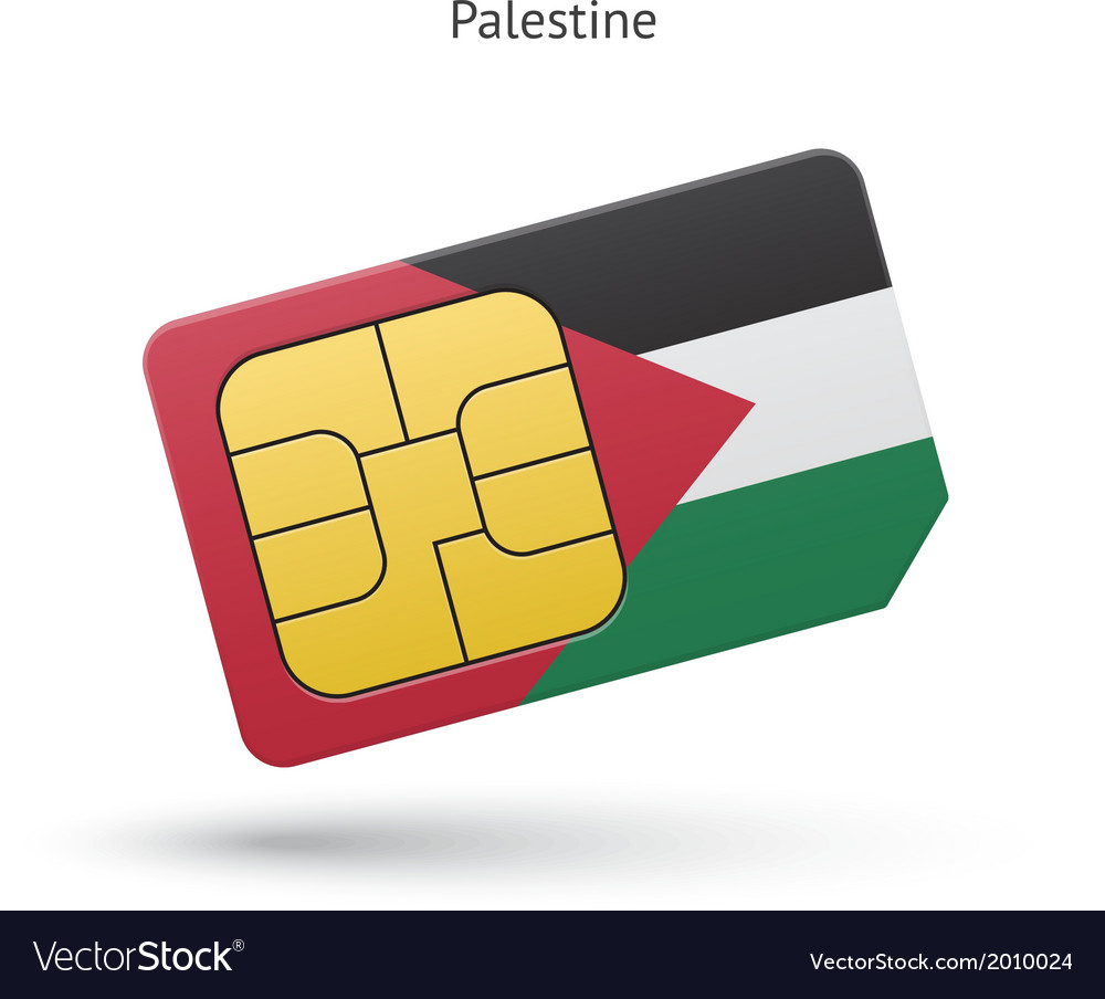 Palestine mobile phone sim card with flag vector | Price: 1 Credit (USD $1)
