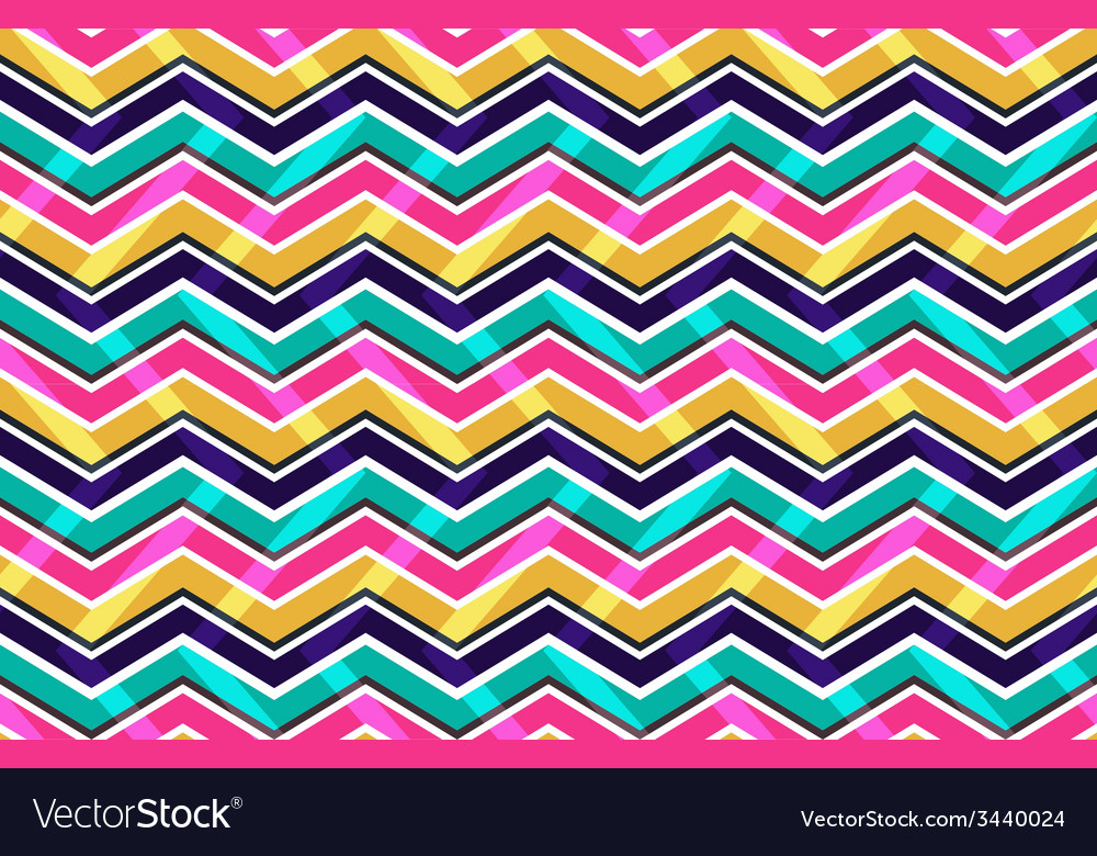 Pink yellow and blue zig zag seamless pattern vector | Price: 1 Credit (USD $1)