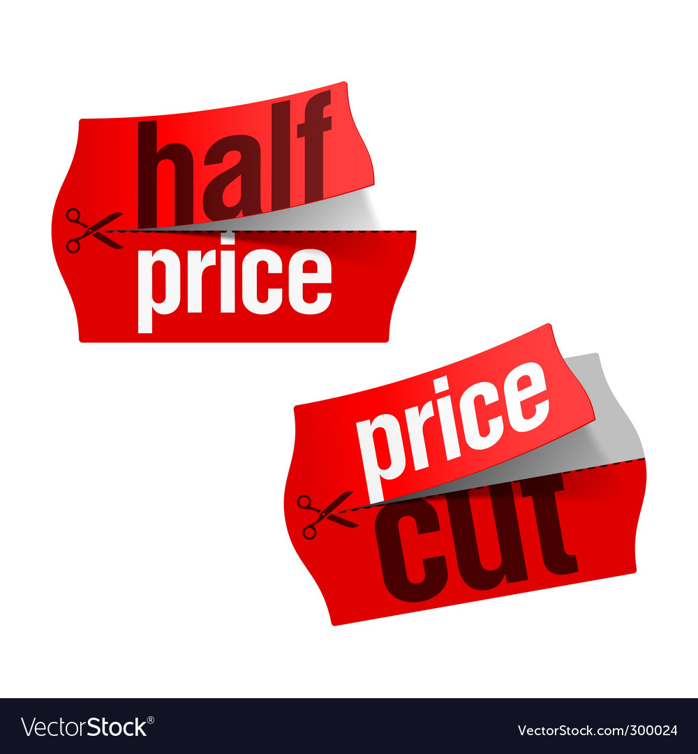 Price cut half price sticker vector | Price: 1 Credit (USD $1)