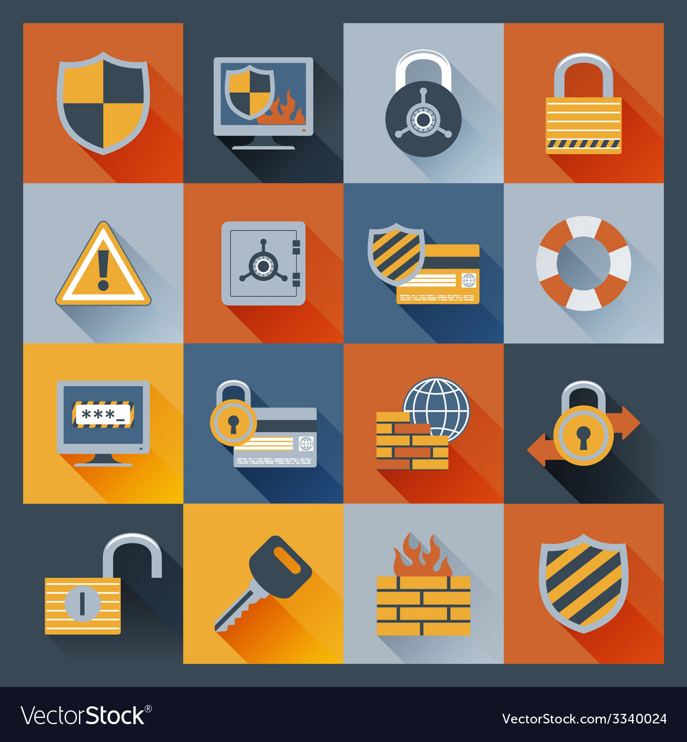 Security icons set flat vector | Price: 1 Credit (USD $1)