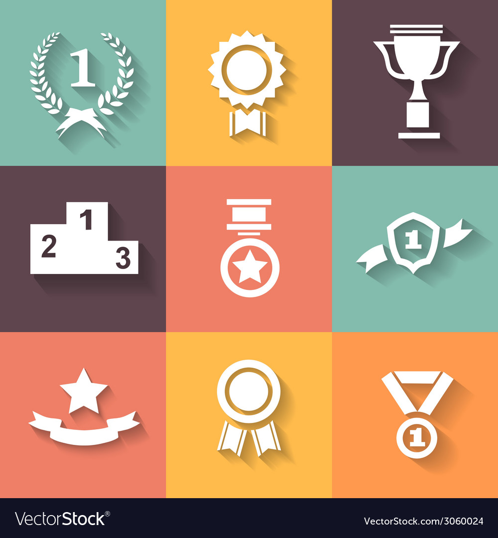 Set of white award success and victory icons with vector | Price: 1 Credit (USD $1)