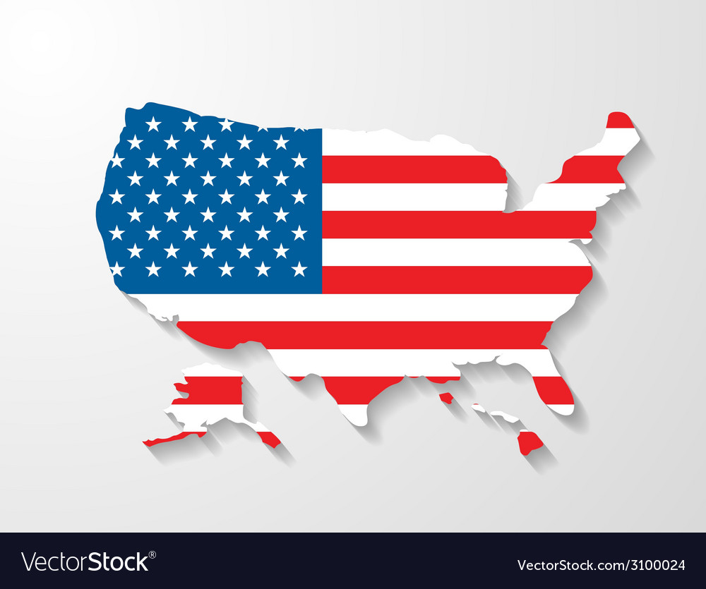 Usa map with shadow effect vector | Price: 1 Credit (USD $1)