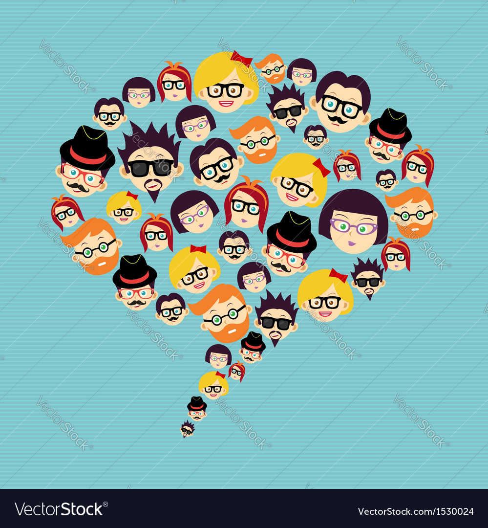 Vintage hipsters faces social bubble vector | Price: 1 Credit (USD $1)
