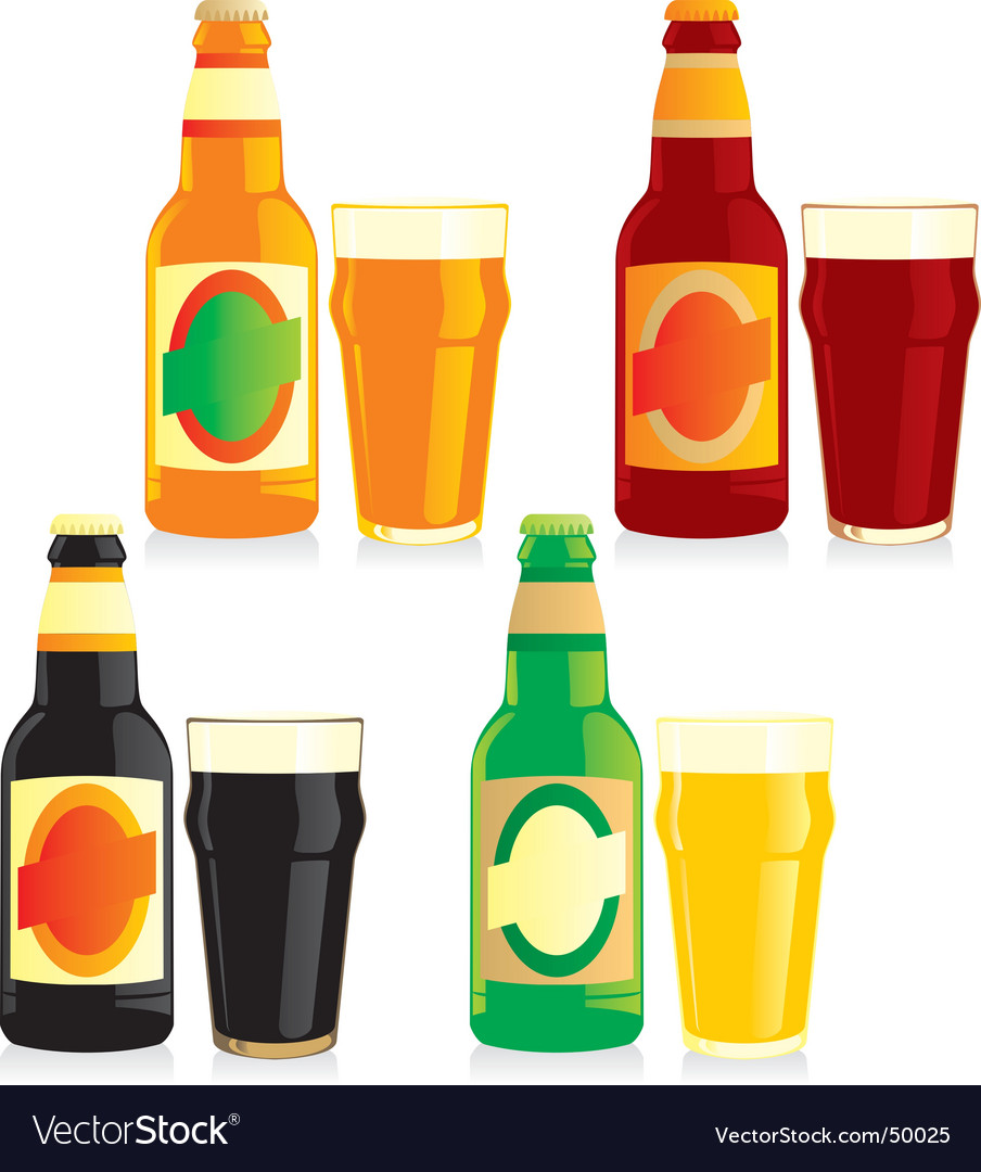 Bottle and glasses of beer vector | Price: 1 Credit (USD $1)