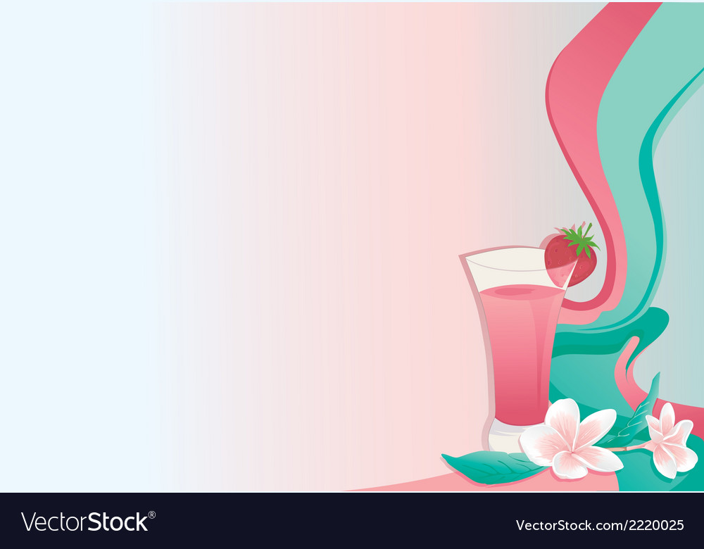 Cocktail card with strawberry and plumeria vector | Price: 1 Credit (USD $1)